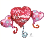 Happy Valentine's Day Balloon Hearts