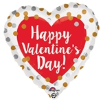 18 inch Happy Valentine's Day Gold & Silver Dots