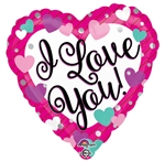 18in Love You Purple, Pink, and Teal Foil Balloon