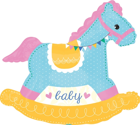 29 Inch Baby Shower Rocking Horse Supershape Foil Balloon