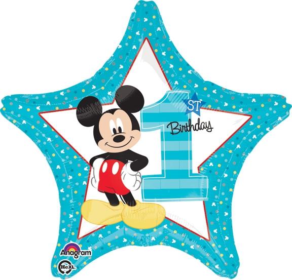 18 inch Disney Mickey 1st Birthday Boy Foil Balloon