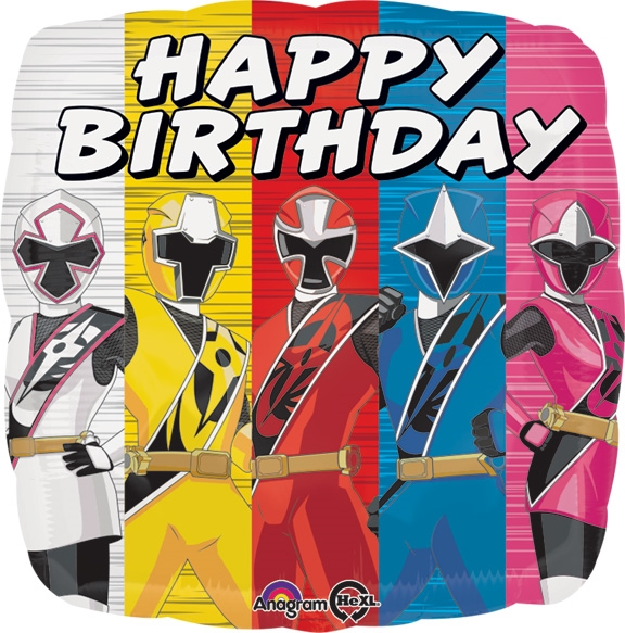 17 Inch Power Ranger Ninja Steel Happy Birthday Foil Balloon