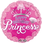 18 inch Happy Birthday Princess Crown & Gem Balloon