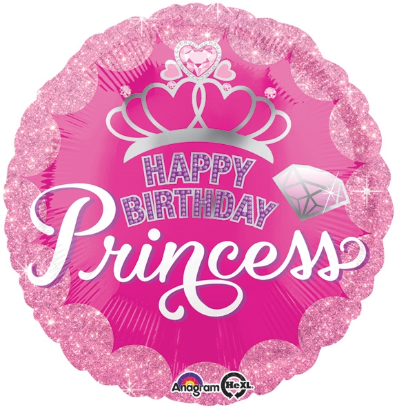 18 Inch Happy Birthday Princess Crown Gem Balloon
