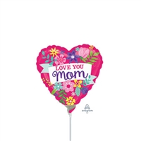 Love You Mom Flowers Balloon