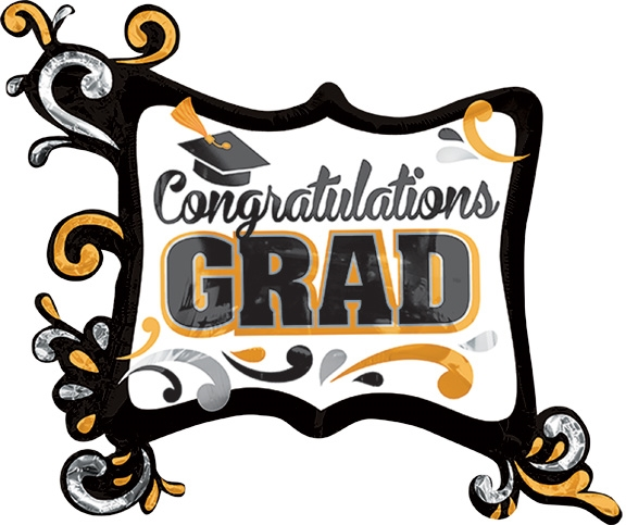 34 inch congratulations grad silver and gold frame foil balloon