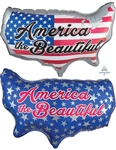 31 inch America the Beautiful  foil patriotic balloon.
