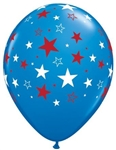 11 inch Qualatex Dark Blue with Red & White Stars