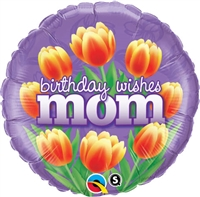 18 inch Birthday Wishes Mom Tulips