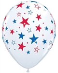 11 inch Qualatex White with Red & Blue Star Print