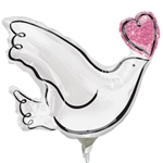 White DOVE with Heart Mini-Shape