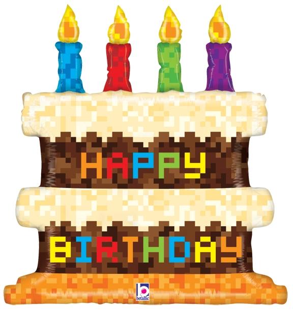 31 inch Pixel Birthday Cake Foil Balloon