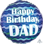 Happy Birthday Dad Waves Foil Balloon