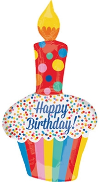 Bright Birthday Cupcake Foil Balloon