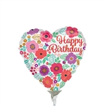 Happy Birthday Floral Heart Shape