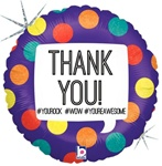 18 inch Hashtag THANK YOU! Round Holographic foil balloon