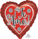 18 inch Te Amo Flower Border foil balloon