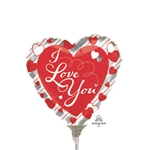 9 inch Love Red Heart & Silver Stripes