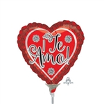 9 inch Te Amo Flower Border Foil Balloon