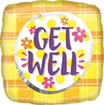 Get Well Plaid Sunshine Balloon