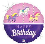18 inch Carousel Birthday foil balloon