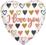 ROSE GOLD Hearts I Love You Foil Balloon