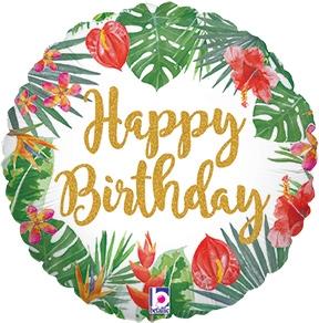 Phenomenal 18 Inch Tropical Birthday Holographic Foil Balloon Birthday Cards Printable Trancafe Filternl