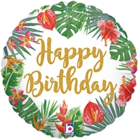 Tropical Birthday Round Foil Balloon