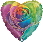 Rainbow Rose Heart Foil Balloon