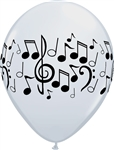 11inch White Qaualatex Balloons with Black Printed Musical Notes