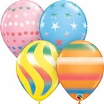 11 inch Sandard Color Qualatex Balloons with Spray Designs