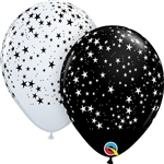 11 inch Qualatex Round STARS-A-Round BLACK with WHITE Latex Balloon
