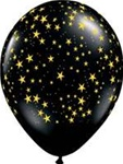11 inch Qualatex Round STARS-A-Round ONYX BLACK with GOLD Latex Balloon