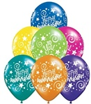 11 inch Qualatex Anniversary Stars and Swirl