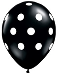 11 inch Qualatex Big Polka Dots Onyx Black with White