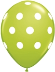 11 inch Qualatex Big Polka Dots LIME GREEN