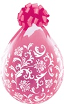 18 inch Damask Print-A-Round Clear Stuffing Balloon