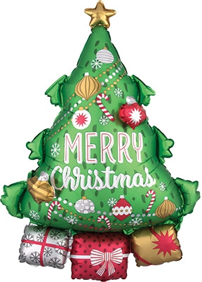 Foil Christmas Tree.34 Inch Christmas Tree Garland Foil Multi Balloon Pkg Price Per Each