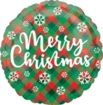 18 inch Merry Christmas Green & Red Plaid