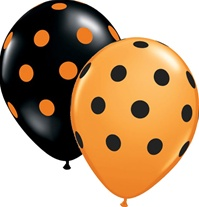 11in BIG Polka Dots BLACK & ORANGE Assortment