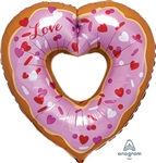 Open Heart Donut SuperShape Foil Balloon