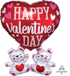 Valentine's Floating Bears SuperShape Foil Balloon
