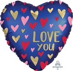 Satin Navy & Gold Love Foil Balloon