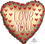 Satin Love You Gold Heart Shape