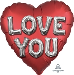 Love You Balloon Letters Heart Shape Foil Balloon