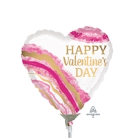 Watercolor Geode Heart Shape Foil Balloon