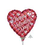 Valentine Plaid Heart Shape Balloon