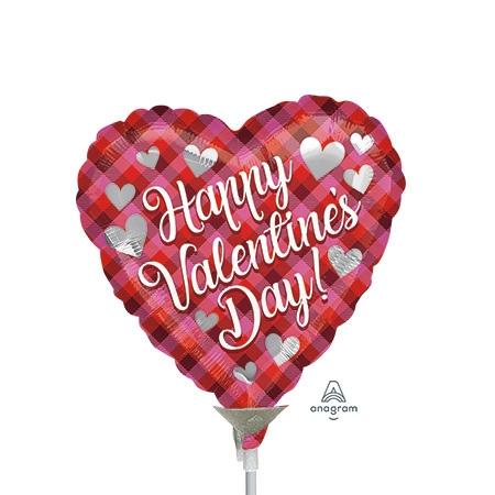 9 inch Valentine Plaid Heart Shape Foil Balloon, Price Per EACH, Minimum  Order 20