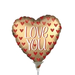 Satin Love You Gold Foil Balloon