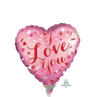 Satin Love You Heart Shape Foil Balloon